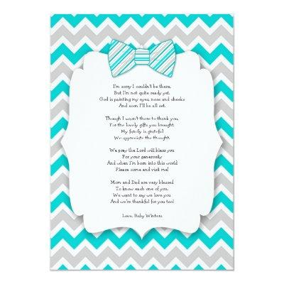 Baby shower thank you notes with poem turquoise Invitations