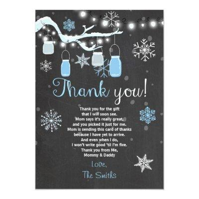 Baby Shower Thank you Winter Baby boy blue Invitations