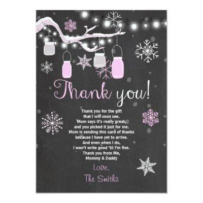 Baby Shower Thank you Winter Baby girl pink Invitations