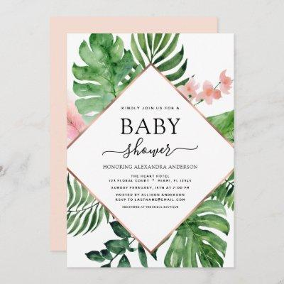 Baby Shower Tropical Palm Watercolor Geometric Invitation