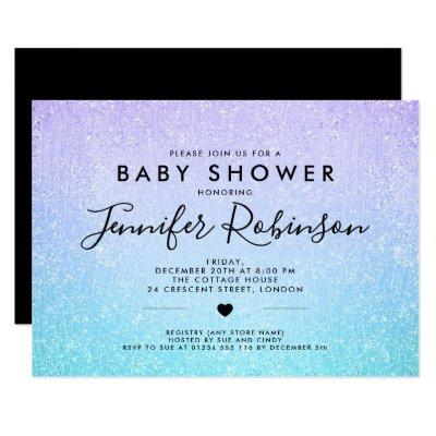 Baby Shower Turquoise Purple Glitter Paint Invitations