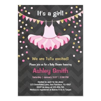 Baby Shower TuTu Pink Gold Invitations