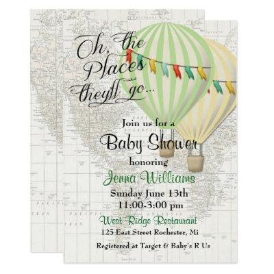 Baby Shower Twin Hot Air Balloon Invitations