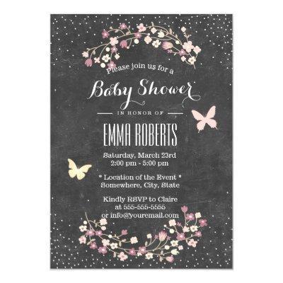 Baby Shower Vintage Chalkboard Butterfly & Flowers Invitation
