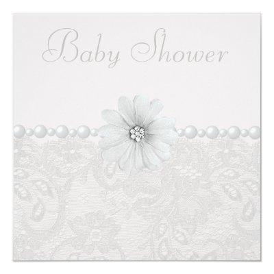 Baby Shower Vintage Paisley Lace, Flowers & Pearls Invitations