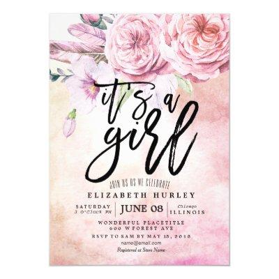 Baby Shower Watercolor Bohemian Flowers & Feathers Invitations