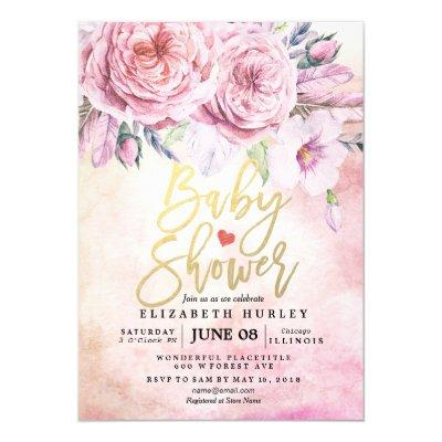 Baby Shower Watercolor Bohemian Flowers & Feathers Invitation