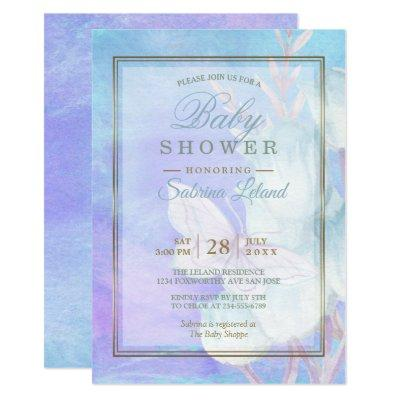Baby Shower Watercolor Butterfly and Blue Tulips Invitations