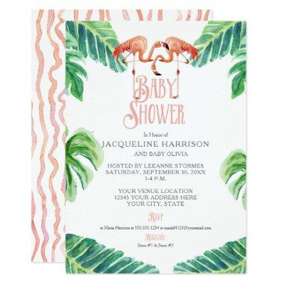 Baby Shower Watercolor Pink Flamingo Leaf Stripe Invitation