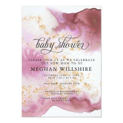 Baby Shower Watercolor Rose Quartz Gold Geode Invitation