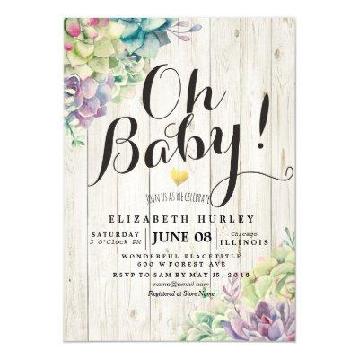 Baby Shower Watercolor Succulent Plants White Wood Invitations