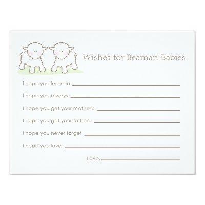 Baby Shower Wish Card Twin Little Lambs Baby Shower Invitations