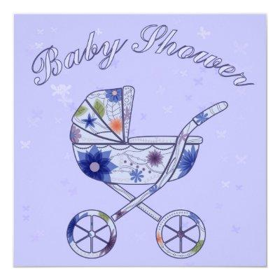 Baby shower with baby carriage blue invitation
