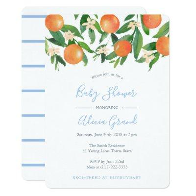 Baby Shower With Citrus Oranges and Powder Blue Invitation
