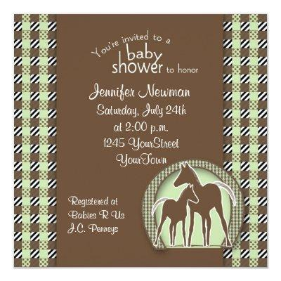Baby Shower with Horses in Green Plaid Invitations