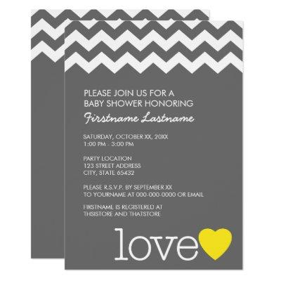 Baby Shower with modern chevrons and heart Invitation