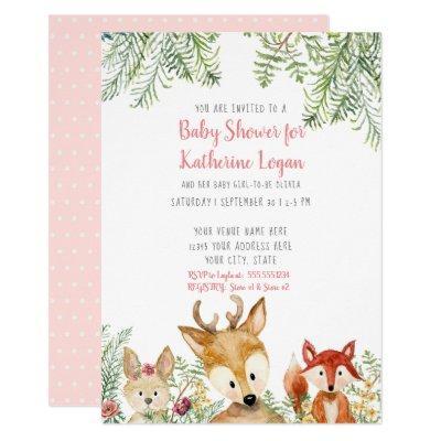 Baby Shower Woodland Animals Boho Deer Fox Bunny Invitation