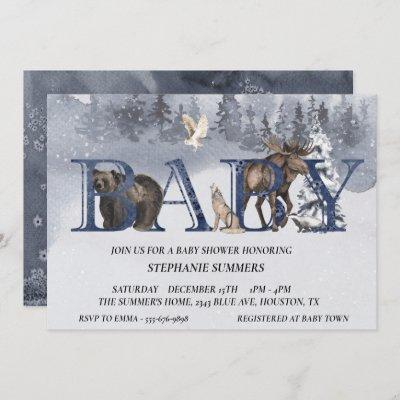 Baby Shower Woodland Bear Winter Watercolor Invitation
