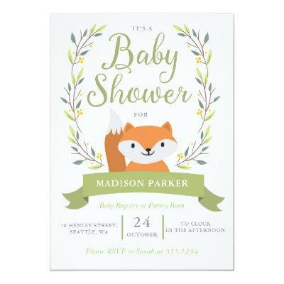Baby Shower Woodland Fox Invitations
