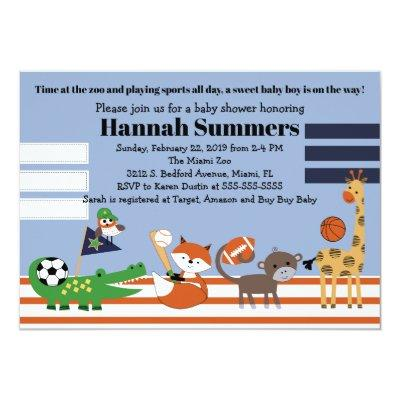 Baby Sports League Animals Baby Shower Invitation