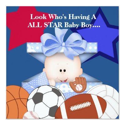 BABY SPORTS SHOWER INVITATION FOR BOY