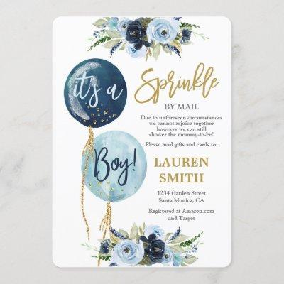 Baby Sprinkle by Mail Navy blue balloon shower boy Invitation