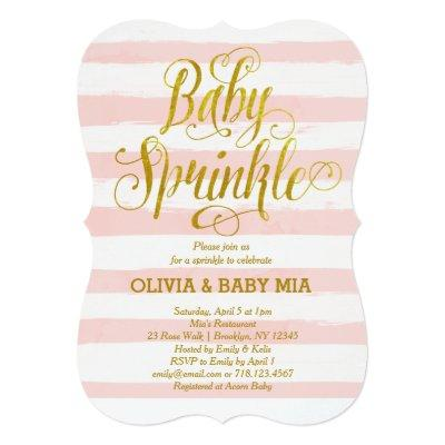 Baby Sprinkle Invitation Girl Pink Gold White