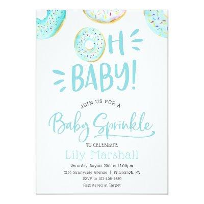 Baby Sprinkle Shower Invitations for Baby Boy Donut