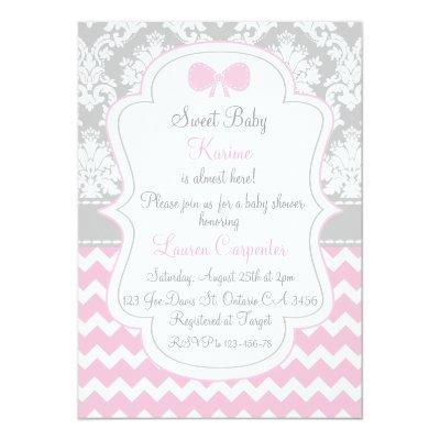 Baby to shower girl Invitations pink chevron and co