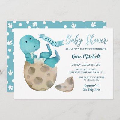 Baby TRex Hatching Dinosaur Egg Boy Baby Shower Invitation