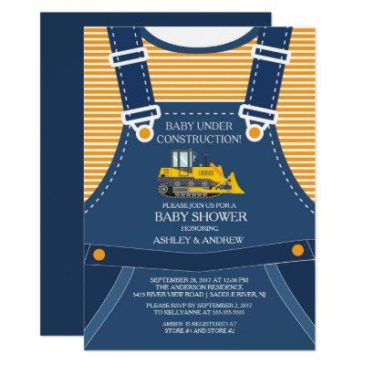 BABY UNDER CONSTRUCTION Baby Shower Invitations
