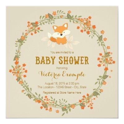 Baby Woodland Fox Invitations