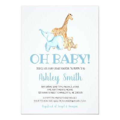 Baby zoo animal baby shower invitation