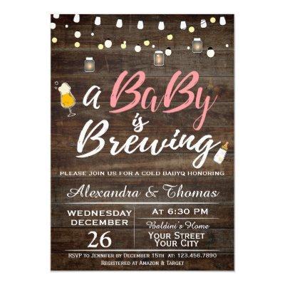 BabyQ BBQ Baby Brewing Shower Invitations
