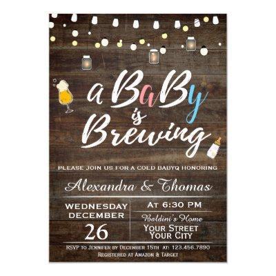 BabyQ BBQ Baby Brewing Shower Invitation