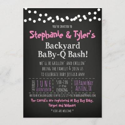 BaByQ BBQ Baby Girl Shower Invitation Book Card