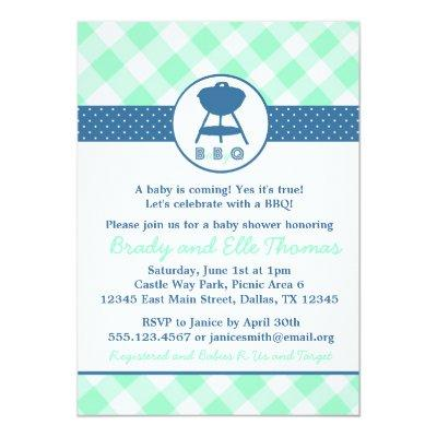 BabyQ BBQ Baby Q Shower Invitation Boy or Neutral