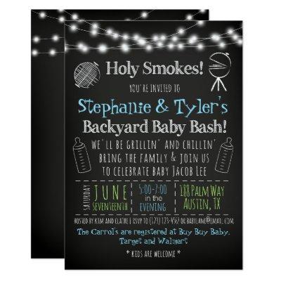 BabyQ BBQ Baby Shower Invitation and Book Card