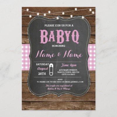 BaByQ BBQ Baby Shower Pink Chalk Wood Invite