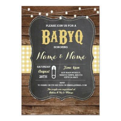 BaByQ BBQ Yellow Chalk Wood Invite