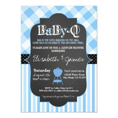 BabyQ BBQ Couples Baby Boy Shower Invitations
