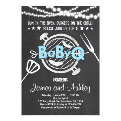 BabyQ BBQ Couples Shower Coed Blue Invitations