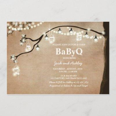 BabyQ invitation Coed BBQ Shower Rustic Lights