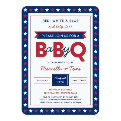 BabyQ or Baby-Q Red White Blue Baby Shower Invite