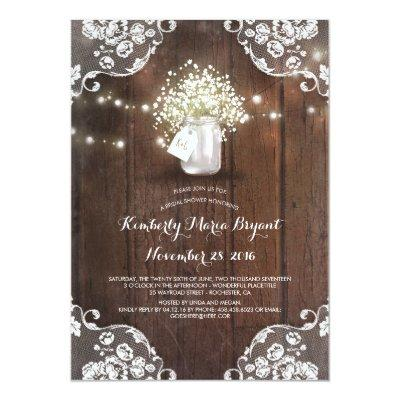 Baby's Breath Mason Jar Barn Wood Bridal Shower Invitations