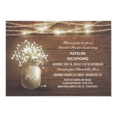 Baby's Breath Mason Jar Lights Bridal Shower Invitations
