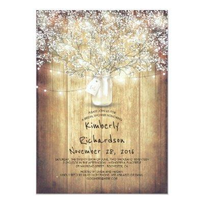 Baby's Breath Mason Jar Rustic Barn Bridal Shower Invitations