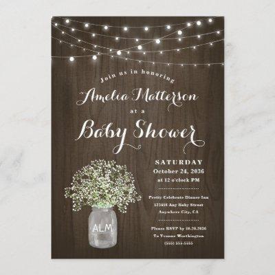 Babys Breath Mason Jar Rustic Wood Baby Shower Invitation