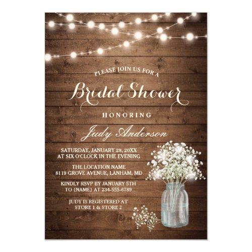 Baby's Breath Mason Jar Rustic Wood Bridal Shower Invitations