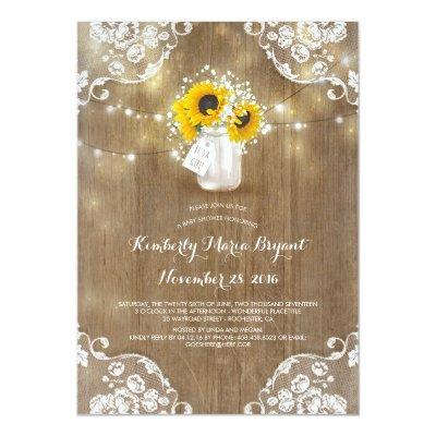 Baby's Breath Mason Jar Sunflowers Invitations